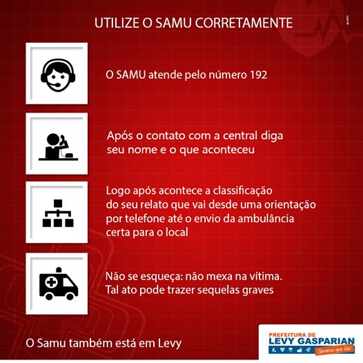 Atendimento do SAMU e exclusivo pelo telefone 192